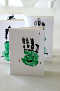 Mom Dot has a spooktastic tutorial on creating Frankenstein Handprint Crafts