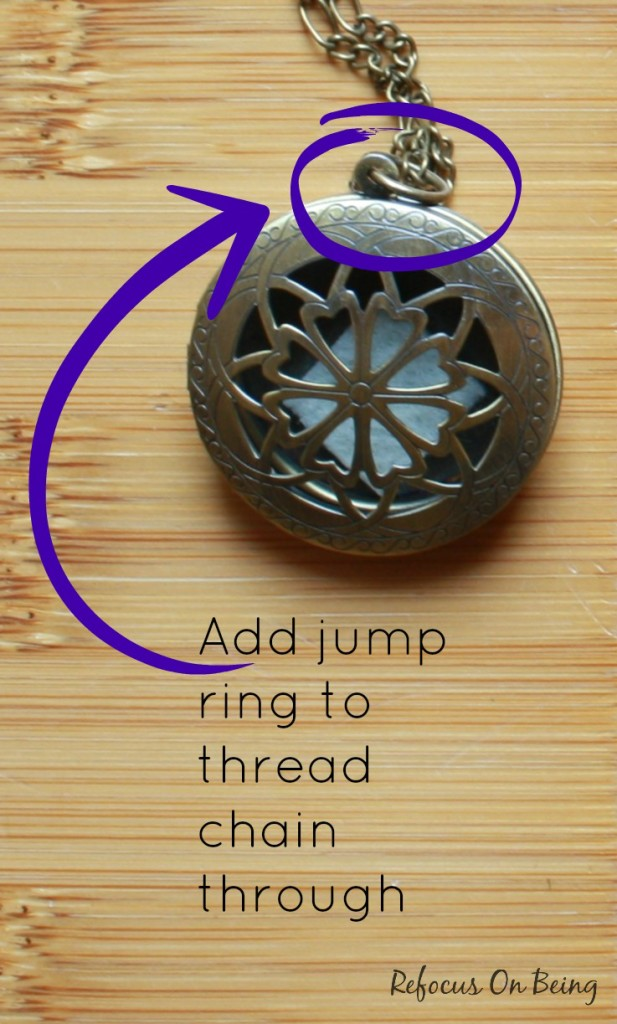 Learn how to make a DIY Essential Oil Diffuser Locket Necklace by Refocus On Being. Part of the 12 Days of DIY Christmas (hosted by Homegrown and Healthy)