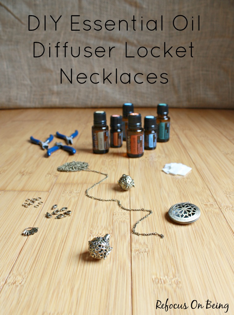Learn how to make a beautiful and therapeutic DIY Essential Oil Diffuser Locket Necklace by Refocus On Being.